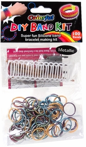 D.I.Y. Do it Yourself Bracelet Bands KIT 100 Metallic Multi-Color Rubber Bands with Hook Tool, Buckles & Mini Ladder Loom