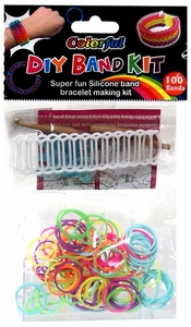 D.I.Y. Do it Yourself Bracelet Bands KIT 100 Multi-Color Neon Rubber Bands with Hook Tool, Buckles & Mini Ladder Loom
