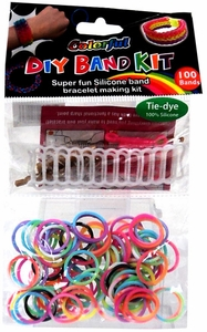 D.I.Y. Do it Yourself Bracelet Bands KIT 100 Multi-Color Tie-Dye Rubber Bands with Hook Tool, Buckles & Mini Ladder Loom