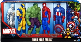 Marvel Avengers Titan Hero Series 12 Inch Action Figure 6-Pack Wolverine, Iron Man Mk II, Hulk, Spider-Man, Captain America & Stealth Strike Iron Man