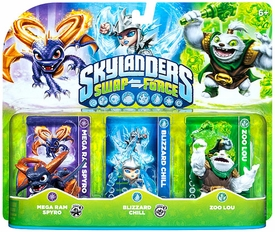 Skylanders SWAP FORCE Figure 3-Pack Mega Ram Spyro, Blizzard Chill & Zoo Lou BLOWOUT SALE!