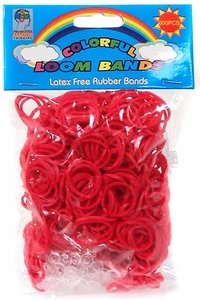 Colorful Loom Bands 600 RED Rubber Bands with 'S' Clips