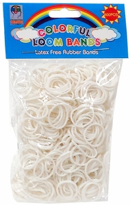 Colorful Loom Bands 600 WHITE Rubber Bands with 'S' Clips