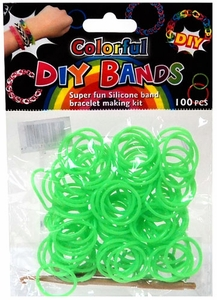D.I.Y. Do it Yourself Bracelet Bands 100 Neon Green Rubber Bands with Hook Tool & Buckles
