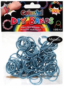 D.I.Y. Do it Yourself Bracelet Bands 100 Metallic Blue Rubber Bands with Hook Tool & Buckles