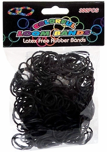 Colorful Loom Bands 300 Black Rubber Bands with 'S' Clips