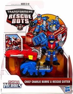 Transformers Rescue Bots Playskool Heroes Action Figure Set Chief Charlie Burns & Rescue Cutter