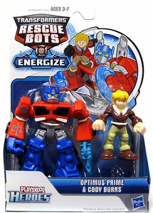 Transformers Rescue Bots Energize Action Figure Optimus Prime & Cody Burns