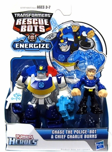 Transformers Rescue Bots Energize Action Figure Chase & Chief Charlie Burns