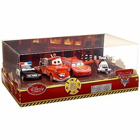 Disney / Pixar CARS TOON Exclusive 1:48 Die Cast 4-Pack Rescue Squad Mater [Lightning McQueen, Firetruck Mater, Rescue Squad Police Car & Chopper] Damaged Package, Mint Contents!