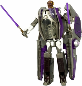 Star Wars 30th Anniversary Saga 2007 Transformers Action Figure Mace Windu to Jedi Starfighter