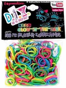 D.I.Y. Do it Yourself Bracelet 300 Neon Glow-In-The -Dark Rainbow Rubber Bands with 12 Clasps
