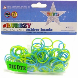 Undee Bandz Rubbzy 100 Blue, Green & Yellow Tie-Dye Rubber Bands with Clips BLOWOUT SALE!