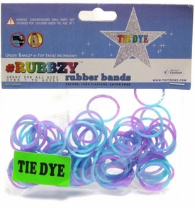 Undee Bandz Rubbzy 100 Aqua Blue & Purple Tie-Dye Rubber Bands with Clips