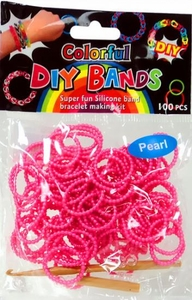 D.I.Y. Do it Yourself Bracelet Bands 100 Pearl Metallic Pink Rubber Bands with Hook Tool & Buckles