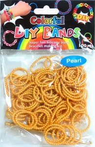D.I.Y. Do it Yourself Bracelet Bands 100 Pearl Metallic Gold Rubber Bands with Hook Tool & Buckles