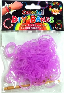D.I.Y. Do it Yourself Bracelet Bands 100 Pearl Neon Purple Rubber Bands with Hook Tool & Buckles