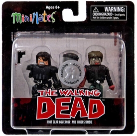 Walking Dead Minimates Series 4 Exclusive Mini Figure 2-Pack Riot Gear Governor & Biker Zombie