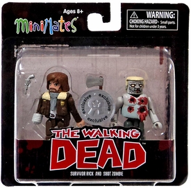 Walking Dead Minimates Series 4 Exclusive Mini Figure 2-Pack Survivor Rick & Shot Zombie