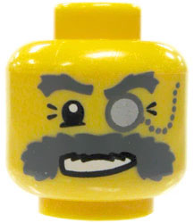 LEGO LOOSE Head Yellow Male with Monocle and Bushy Gray Moustache