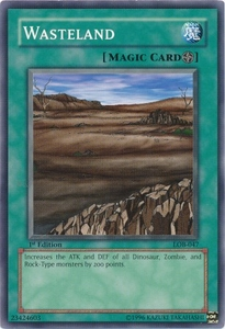 YuGiOh Legend of Blue Eyes White Dragon Single Card Common LOB-047 Wasteland
