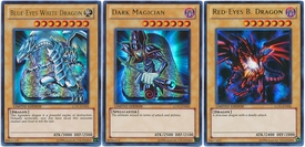 YuGiOh Legendary Collection Single Card Ultra Rare Set of 3 Icon Cards Blue-Eyes White Dragon, Dark Magician & Red Eyes B. Dragon BLOWOUT SALE!
