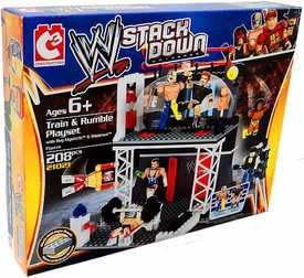 C3 WWE Wrestling Stack Down Set #21021 Train & Rumble Playset