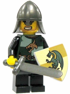 LEGO Kingdoms LOOSE Green Kingdom Mini Figure Dragon Swordsman [Sword, Small Shield & Conical Helm]