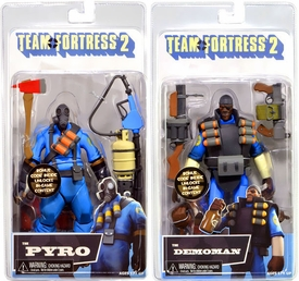 NECA Team Fortress 2 Set of Both BLU Series 1 Action Figures [Demoman & Pyro]