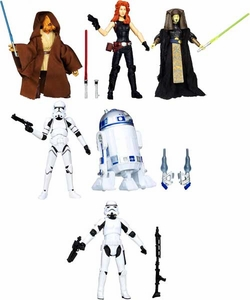 Star Wars Black 3.75 Inch Series 2 Set of 6 Action Figures [R2 D2, Clone Trooper 41st, Stormtrooper, Pablo-Jill, Mara Jade Skywalker,  Luminara Unduli] Pre-Order ships March