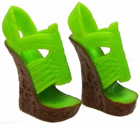 Monster High 10.5 Inch Scale LOOSE Doll Accessory Lime & Brown Faux Cork Wedge Huarache Sandals