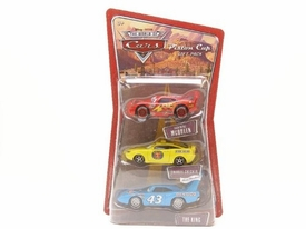Disney / Pixar CARS 1:55 Die Cast Figure 3-Pack Lightning McQueen, Charlie Checker & King
