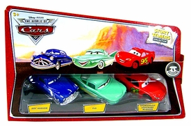 Disney / Pixar CARS Movie 1:55 Die Cast Story Tellers Collection 3-Pack Doc Hudson, Flo & Sponsorless McQueen