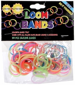 Loom Bands 100 Rainbow Glitter Rubber Bands with 'S' Clips