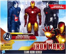 Iron Man 3 Titan Hero Series 12 Inch Action Figure 3-Pack Iron Patriot, Iron Man & War Machine