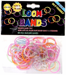 Loom Bands 100 Rainbow Glow-in-the-Dark Rubber Bands with 'S' Clips