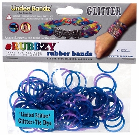 Undee Bandz Rubbzy 100 Purple & Blue Glitter Tie-Dye Rubber Bands with Clips
