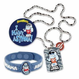 Asthma Bundle: Includes Asthma Wristband, Asthma Dog tag, Asthma Stickers