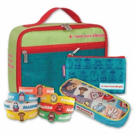 The Food Allergy Survival Kit for Kids Medium: Includes Allergy Alert Aqua Lunch & Small Snack Bag, Squares EpiPen Case, Allergy Alert Wristband - click to choose