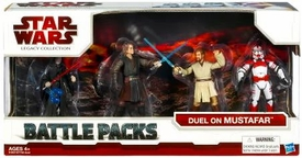 Star Wars 2009 Clone Wars Action Figure Battle Pack Duel On Mustafar {Lava Duel} [Darth Sidious, Anakin Skywalker, Obi-Wan Kenobi & Shock Trooper]