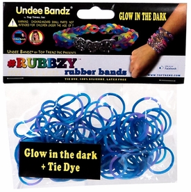 Undee Bandz Rubbzy 100 Blue & Purple Glow-in-the-Dark Tie-Dye Rubber Bands with Clips