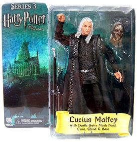 Harry Potter and the Order of the Phoenix NECA 7 Inch Series 3 Action Figure Lucius Malfoy  [Death Eater Mask Head, Cane, Wand & Base]
