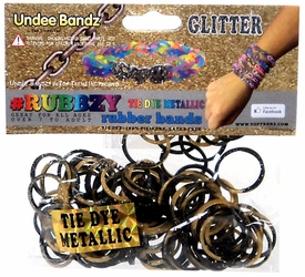 Undee Bandz Rubbzy 100 Metallic Gold & Black Glitter Tie-Dye Rubber Bands with Clips