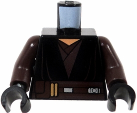 LEGO LOOSE Dark Brown Torso with Black Tunic & Wide Brown Belt