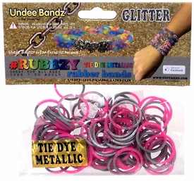 Undee Bandz Rubbzy 100 Metallic Silver & Pink Glitter Tie-Dye Rubber Bands with Clips BLOWOUT SALE!