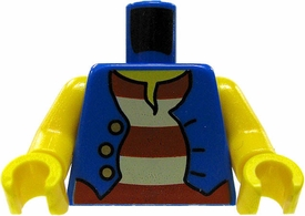 LEGO LOOSE Torso Blue Pirate's Vest Design with Bare Yellow Arms and Red & White Shirt