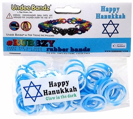 Undee Bandz Rubbzy 100 Hanukkah White & Blue Glow-in-the-Dark Tie-Dye Rubber Bands with Clips BLOWOUT SALE!