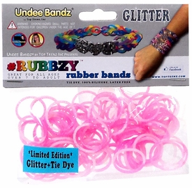 Undee Bandz Rubbzy 100 Pink & White Glitter Tie-Dye Rubber Bands with Clips BLOWOUT SALE!