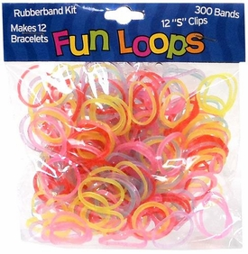 Fun Loops 300 Rainbow Glitter Rubber Bands with 'S' Clips
