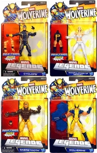 Marvel Wolverine Legends Exclusive Set of 4 Puck Building Action Figures [Wolverine, Emma Frost, Cyclops & Sabretooth]